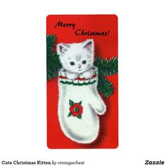 Shop Cute Christmas Kitten Holiday Postcard created by vintagechest. Personalize it with photos & text or purchase as is! Cat Christmas Cards, Christmas Kitten, Christmas Graphics, Vintage Christmas Cards, Retro Christmas, Vintage Holiday, Xmas Cards, Christmas Artwork, Father Christmas