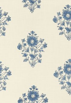 Beatrice Bouquet in Indigo by Schumacher - blue floral design on cream fabric - adapted from an antique Indian block printed cotton