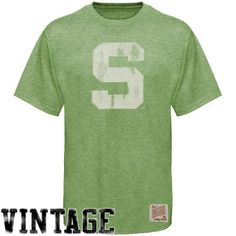 Original Retro Brand Michigan State Spartans Light Green Distressed Crew-Neck Vintage Premium T-shirt - $33.99