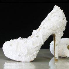 Cinderella Princess Crystal Shoes Girls Womens High Heel wedding shoes New sytle Wedding High Heels, Crystal Shoes, Pearl And Lace, Womens High Heels, Pump Shoes, Girls Shoes, Crystals, Shoes Handmade, Stilettos