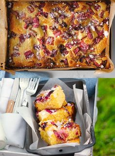// Seasonal Recipes // Rhubarb and custard tray-bake scattered with crushed sugar is perfect with a morning coffee, afternoon tea or as a pudding! Tray Bake Recipes, Baking Recipes, Cake Recipes, Dessert Recipes, Pudding Recipes, Veggie Recipes, Healthy Recipes, Custard Cake, Rhubarb Pudding Cake