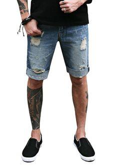 Doublju Mens Red Paint Distressed Denim Shorts #doublju