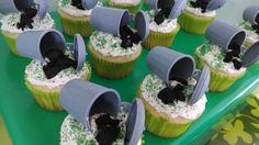 Landon's 4th Birthday - Trash Truck Recycling Party - Garbage can cupcakes made by Mommy!