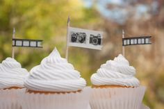 Camera Cupcake Toppers 12 Photography Themed Party Decorations - Black White Silver - Birthday Graduation Wedding Shower Cup Cake, $6.00