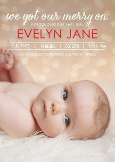 christmas-y birth announcement...you can shoot me if you get something from me titled 'we got our merry on'