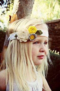 Felt Flower Headband - Flower Girl Headband - Stretchy Headband on Etsy, $15.00