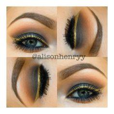 classic black smokey eye w/ gold liner. LOVE