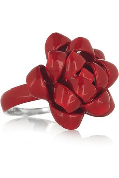 Ribbon enameled sterling silver ring by Solange Azagury-Partridge