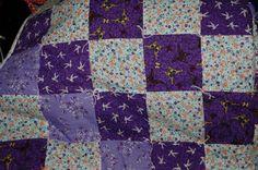 Handmade Purple Crib Quilt Baby Blanket, Hand Tied Comforter Lap Quilt