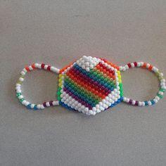 Giant Rainbow Glitter Heart Kandi Rave Mask