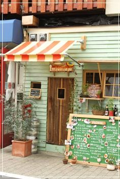 Cute exterior/color combination for a small restaurant, kiosk!