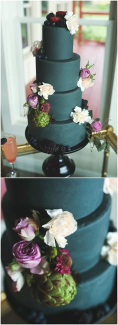 Wedding cake, dark green, artichoke & flowers, berries, modern, black cake stand // Photography by Laceymarie