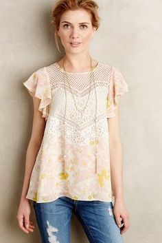 Anthropologie Fluttered Flores Blouse #anthropologie #anthrofave