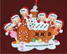 Gingerbread & Candy: Our Family Christmas 6 People Personalized Christmas Ornament