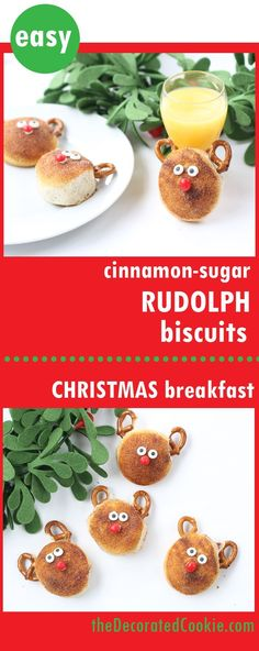RUDOLPH BISCUITS Christmas breakfast -- Cinnamon sugar Rudolph biscuits use store-bought biscuits for an easy Christmas fun food idea. Creative Christmas Food, Christmas Food Treats, Best Christmas Recipes, Christmas Appetizers, Holiday Treats, Holiday Recipes, Party Recipes, Cookie Recipes, Holiday Baking