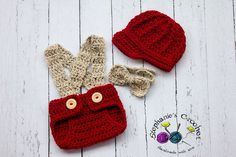 Crochet Newborn boy hat newsboy hat set with bow tie and diaper cover red/oatmeal photo prop infant boy hat brim hat-MADE TO ORDER on Etsy, $40.00