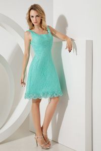 Square Mini-length Turquoise Lace Accent Girls Bridesmaid Dress high quality ruched bridesmaid dress on promotion