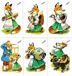 Советские календарики сказки Лисичка со скалочкой
