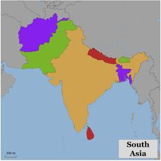 Blank Color Map Of South Asia And South Asian Map