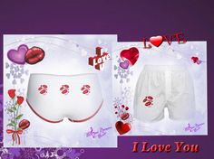 Love and Kisses Ladies Boy Brief Underwear and Boxer Shorts by #MoonDreamsMusic #ValentinesDay #BoxerShorts #BoysBriefUnderwear #LoveAndKisses$17.99, $18.99