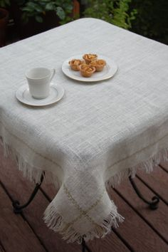 Rustic chic burlap table cloth with fringed edge in white, ivory or natural  color burlap. Hand embroidered in your choice of colors.