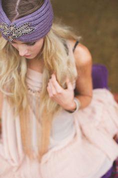 Crystalline Knitted Headband Bohemian Plum Boho by ThreeBirdNest, $38.00