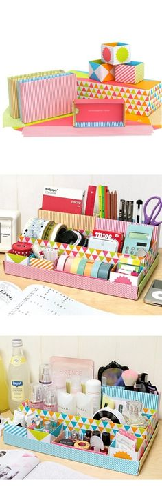 Lovely desk top DIY storage box in box - playground Wrapping Paper Organization, Desk Organization, Wrapping Papers, Diy Arts And Crafts, Home Crafts, Cardboard Organizer, Cardboard Boxes, Rangement Makeup, Diy Desktop