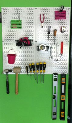 Pegboard created using products  from Home Depot!  LOVE the Wall Control Pegboard!!!