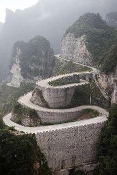 Tianmen Mountain in Hunan Province, China.