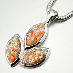 Pugster Murano Glass Millefiori Multi Color Leaf Pendant Necklace For Women Pugster. $26.79. Size (mm): 28.72*5.72*48.6. Weight (gram): 15.25. Metal: metal,murano glass. Note: every piece of hand-made glass is slightly different in pattern and shape.. Color: silver,red,yellow,blue