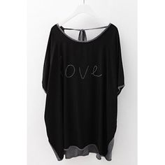 Stylish Scoop Neck Color Block Dolman Sleeve T-Shirt For Women, BLACK, ONE SIZE in Tees & T-Shirts | DressLily.com
