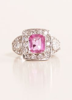 Pink Sapphire + Diamonds Ring art deco
