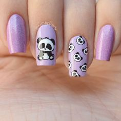 Nail Art For Girls, Girls Nails, Nails For Kids, Perfect Nails, Gorgeous Nails, Cute Nails, Pretty Nails, Panda Nail Art, Minimalist Nails