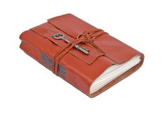 Light Brown Leather Journal with Skeleton Key Bookmark - Ready to Ship -