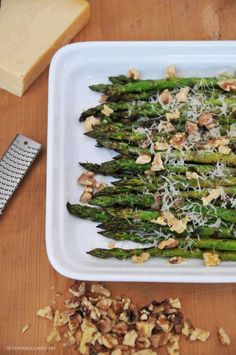 grilled asparagus w/ toasted walnuts & parmesan