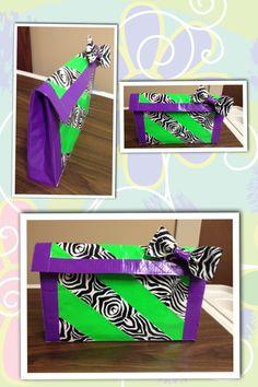 Zebra duct tape purse