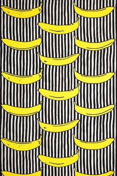 """IKEA classic fabric """"Randig banan"""" (""""Stripy banana""""). Design Inez Svensson, 1986. Made a brief comeback to Ikea a few years ago, as a part of their """"Avbilda"""" collection. Inspired by Andy Warhol."""