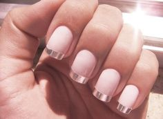 Pale pink nails with silver or rose gold tips 2016
