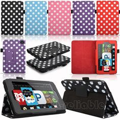 Polka Dot PU Leather Folio Case Cover For Amazon Kindle Fire HD 6 Inch 2014 New Kindle Fire Tablet, Amazon Kindle Fire, 6 Inches, Pu Leather, Birthday Ideas, Office Supplies, Polka Dots, Cover, Ebay