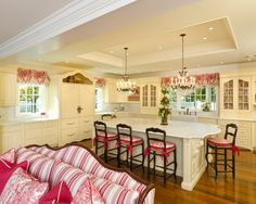 beautiful rosey red and cream kitchen /  family room.  Sophisticated and soft french country.