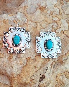 Cowgirl Gypsy CONCHO CROSS EARRINGS Faux Turquoise Southwestern Silver tone  #Unbranded #earrings