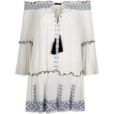 River Island White embroidered shirred bardot beach dress (€64) ❤ liked on Polyvore featuring swimwear, cover-ups, caftans / cover-ups, swimwear / beachwear, white, women, kaftan cover up, tassel cover up, neck ties and caftan cover up