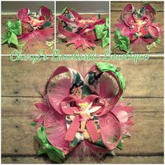 Tinkerbell Inspired twisted boutique bow with Pink feathers and Tinkerbell center on clip by CherylsBowtasticBows