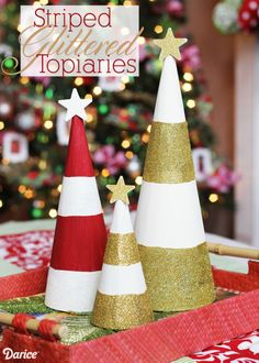 DIY Holiday Decorations: Striped Glittered Topiaries