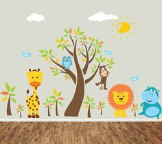Jungle Wall Decal Kids Wall Sticker  Animal  by ArtHomeDecals, $175.00