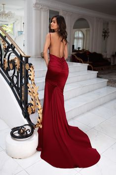 Wine Red Low Back Ruched Formal/Prom Dress - Alamour The Label Satin Formal Dress, Red Satin Dress, Satin Gown, Satin Dresses, Red Formal Dresses Long, Red Ball Dresses, Long Mermaid Dress, Mermaid Dresses, Red Wedding Dresses