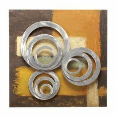 Benzara 34817 25 in. H x 25 in. W Metal Hand Panted Wall Decor [Kitchen] by Benzara. $62.59. Its multicolor background behind the three sets, each having three rings makes it more. The rings sets are arranged on three different levels that is a new pattern in metal art.. The shape itself makes it unique because most of the metal wall decor items come in rectangular. Made of quality steel.. Comes in 25 high and 25 wide square shape.. Changing the room decoration aft...
