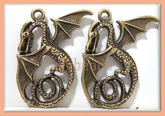 2 Nicely Detailed Antiqued Brass Dragon Pendant by sugabeads, 2.25