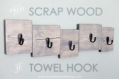 Scrap Wood Towel Hook - Hooked by www.bowerpowerblog.com