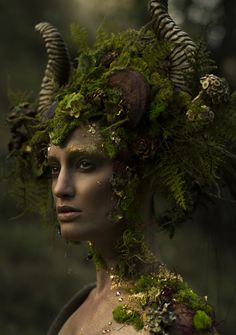Nature:  #Nature #Spirit ~ Photographer: Emily Nicole Teague; Photography Model: Kelli Kickham; Headdress: Miss G Designs; Makeup: Mckenzie Gregg MUA; Lighting Assistant: Christina Schellhous; Horns: Faust & Company.